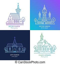 線, セット, 教会