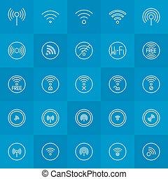 線, セット, 薄くなりなさい, wi - fi, アイコン