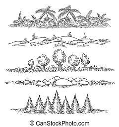線, セット, 風景, 自然