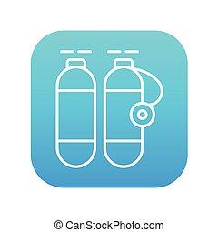 線, タンク, icon., 酸素