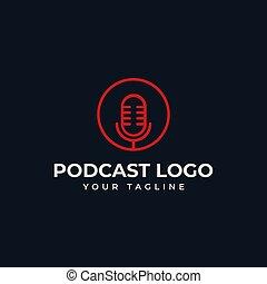 線, デザイン, 円, ラジオ, podcast, 単純である, テンプレート, マイクロフォン, ロゴ