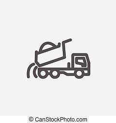 線, トラック, 薄くなりなさい, ゴミ捨て場, アイコン