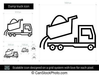 線, トラック, icon., ゴミ捨て場