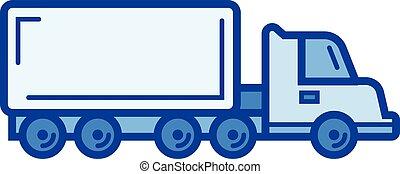 線, トラック, icon., 貨物