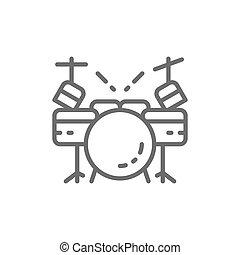 線, ドラムキット, 道具, icon., ミュージカル