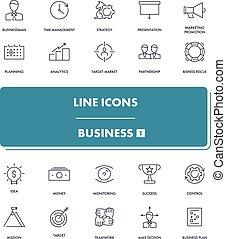 線, ビジネス, set., 1, アイコン