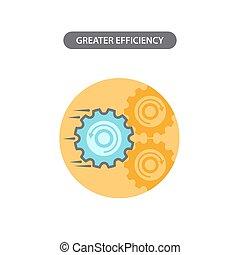 線, ベクトル, より大きい, アイコン, 要素, efficiency., pictogram., ビジネス, デザイン, 現代, 概念, 平ら
