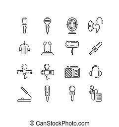 線, ベクトル, スピーカー, マイクロフォン, アイコン