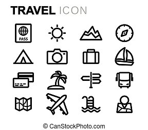 線, ベクトル, セット, 旅行 アイコン