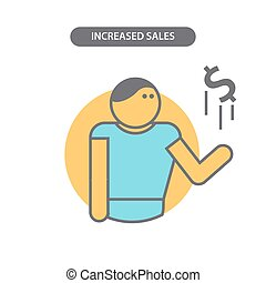 線, ベクトル, 増やされた, アイコン, 要素, sales., pictogram., ビジネス, デザイン, 現代, 概念, 平ら
