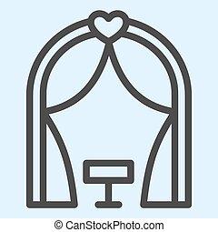 線, ベクトル, 式, 避難所, 網, eps, 白, 祭壇, スタイル, 10., デザイン, 結婚式, ロマンチック, 概念, app., 背景, 使用, place., アウトライン, pictogram, 資産, icon.