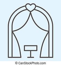線, ベクトル, 式, 避難所, 薄くなりなさい, 網, eps, 白, 祭壇, スタイル, 10., デザイン, 結婚式, ロマンチック, 概念, app., 背景, 使用, place., アウトライン, pictogram, 資産, icon.