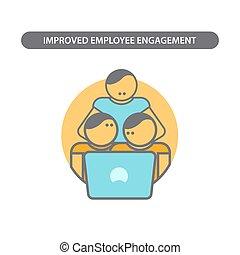 線, ベクトル, 従業員, アイコン, 要素, 概念, pictogram., ビジネス, デザイン, 現代, engagement., 平ら