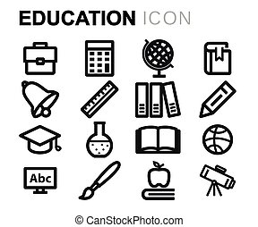 線, ベクトル, 教育, セット, アイコン