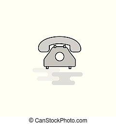 線, ベクトル, 満たされた, icon., 電話, アイコン, 網, 灰色, 平ら