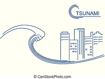 線, ベクトル, 背景, tsunami, 大きい, city., 平ら, イラスト