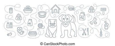 線, ペット, 動物, 旗, 手入れをすること, ヘルスケア, 横, ヘッダー, 平ら