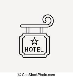 線, ホテル, 印, アイコン
