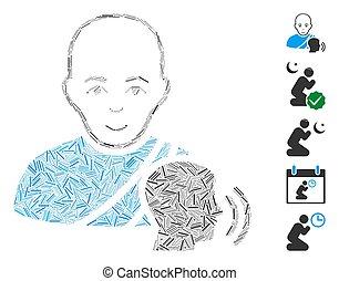 線, モザイク, 仏教, アイコン, confession