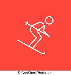 線, 下り坂に, icon., スキー