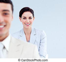 線, 人々, 地位, ビジネス, 微笑