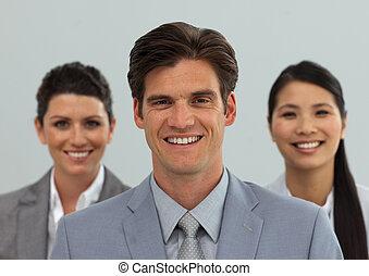 線, 人々, 地位, 多様, ビジネス, 微笑, カメラ
