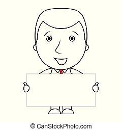 線, 印, 保有物, ブランク, ビジネスマン, 微笑, 漫画