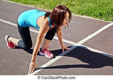 線, 始める, 運動選手