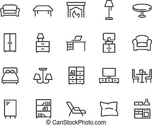 線, 家具, アイコン