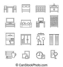 線, 家具, set., アイコン