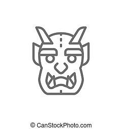 線, 悪魔, マスク, 日本語, icon.