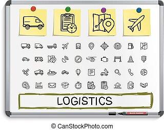 線, 手, 図画, icons., ロジスティックである