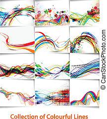 線, 抽象的, ポスター, 波