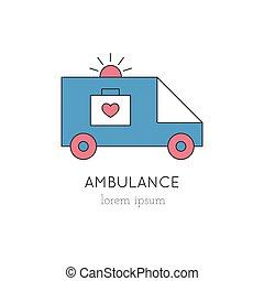 線, 救急車, アイコン