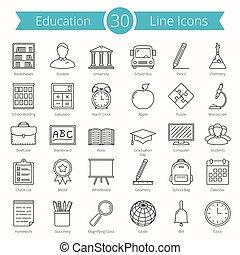 線, 教育, アイコン