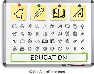 線, 教育, 図画, icons., 手