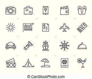 線, 旅行, 観光事業, 旅行, アイコン