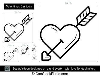 線, 日, icon., バレンタイン