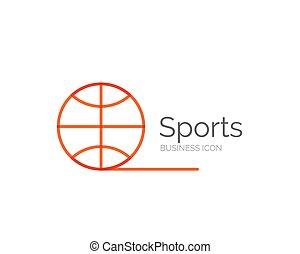 線, 最小である, デザイン, ロゴ, ボールスポーツ