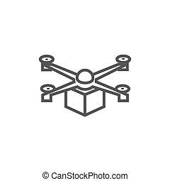 線, 無人機, icon., 渡すこと, パッケージ