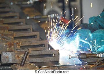 線, 生産, 労働者, 溶接, 小片