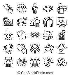 線, 相互作用, 愛, 理解, 友情, 援助, ベクトル, icons., 相互, business.