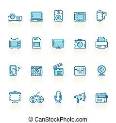 線, 背景, 青, マルチメディア, 現代, アイコン