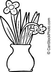 線, 花, 図画, つぼ