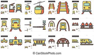線, 運輸, set., 圖象