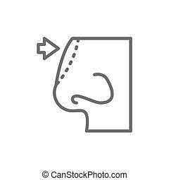 線, 隔離された, 形成外科, rhinoplasty, 背景, 白, icon., 鼻