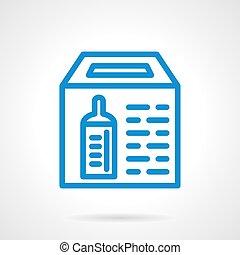 線, 青, アイコン, ベクトル, 単純である, 箱, 寄付