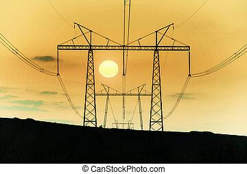 線, 風景, 高電圧, 力