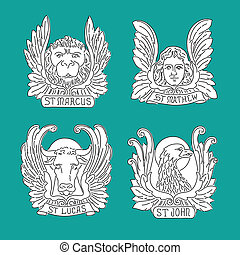 線, 4, john., 天使, 印, 伝道師, eagle., matthew, ライオン, 雄牛, symbols:, ルーク