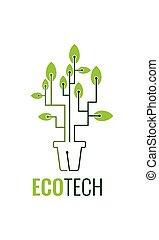 線, eco, ベクトル, 芸術, ロゴ, デザイン, 技術